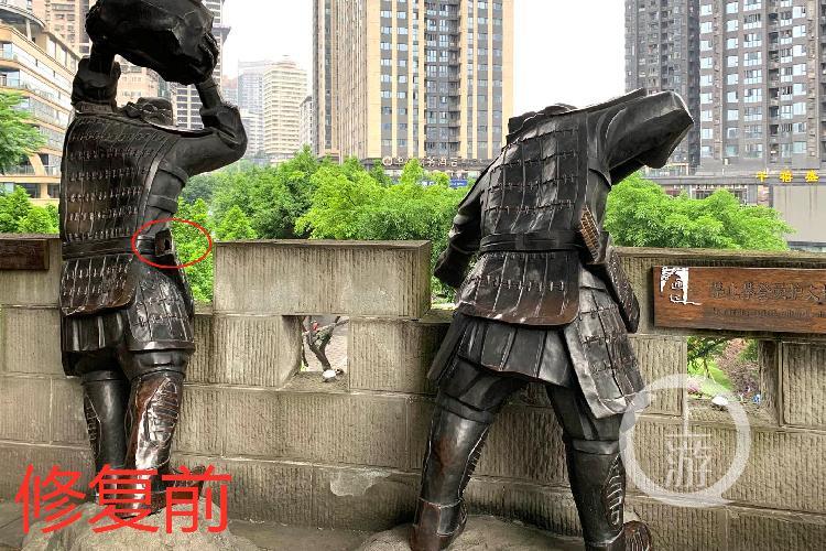追踪 通远门老城墙上士兵雕像已修复 不是文物也需大家爱护