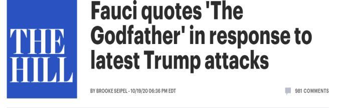 回应特朗普,福奇用了一句《教父》台词图片