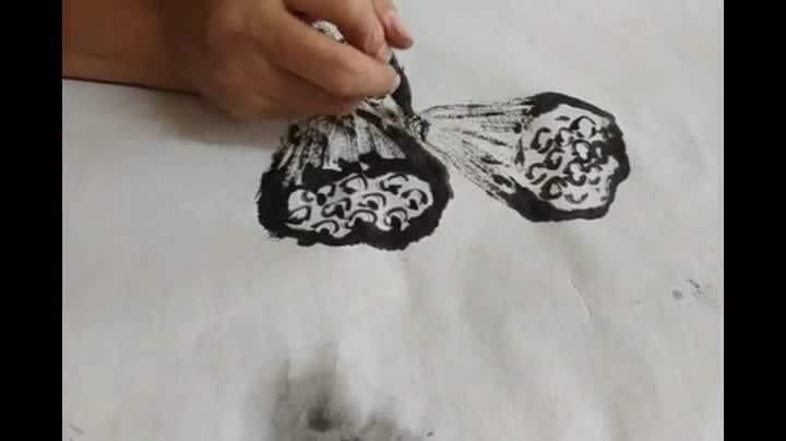 老友视频大讲堂  《花鸟画讲座》之二十一:莲蓬及荷叶杆的画法