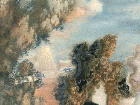 用油画技法,画古典山水,郎世宁款《蓬莱仙岛》