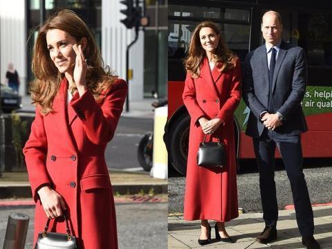 凯特学莱蒂齐亚穿中国红?穿红大衣亮相眼前一亮,但还是输给莱后