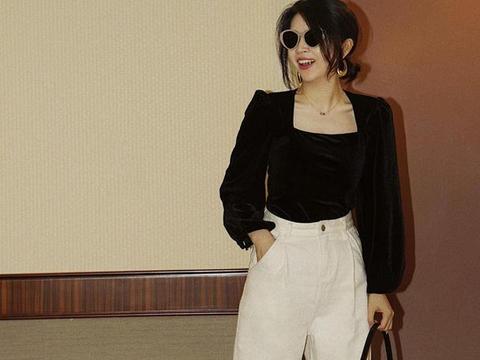 """针织小衫+阔腿裤,小个女生太适合这种""""上短下长""""了,显高显瘦"""