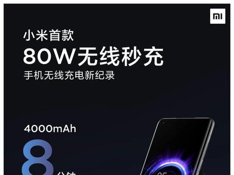 小米推出80W无线充电 19分钟即可充满