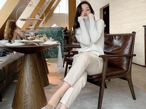 休闲西装裤女秋冬2020年新款直筒九分烟管裤