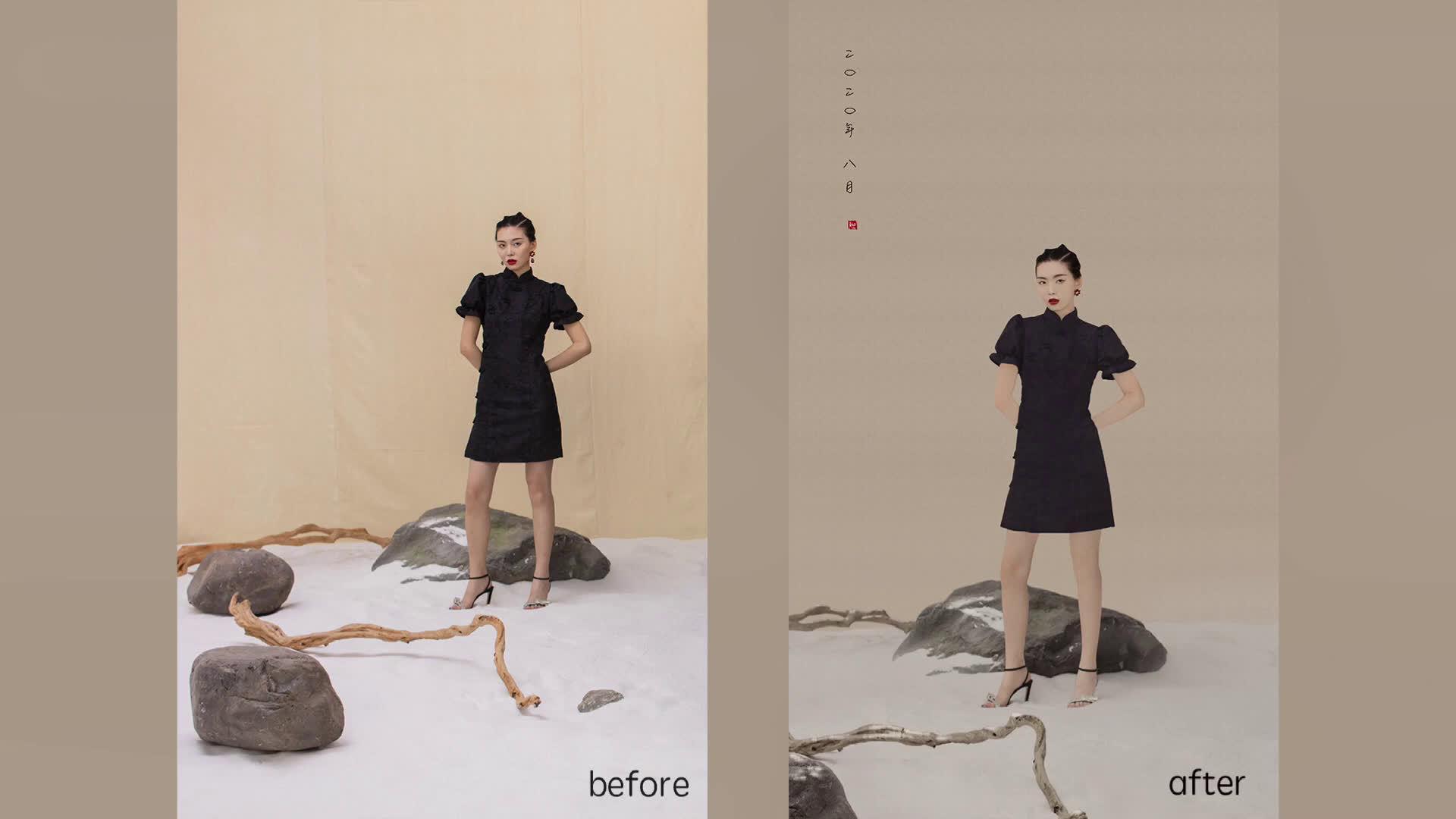 工笔画的一个修图花絮小视频,大致的步骤就是先常规修图磨皮……