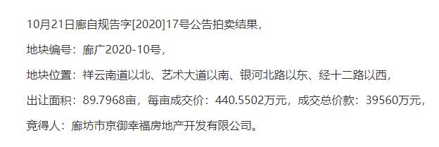 华夏幸福3.95亿摘地,大型商业综合体首进廊坊