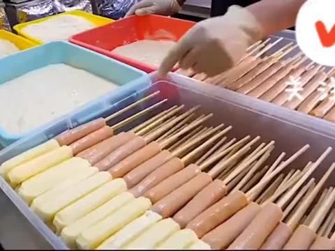 韩国街头脆皮奶酪热狗,看饿了,一下能吃仨,深夜放毒