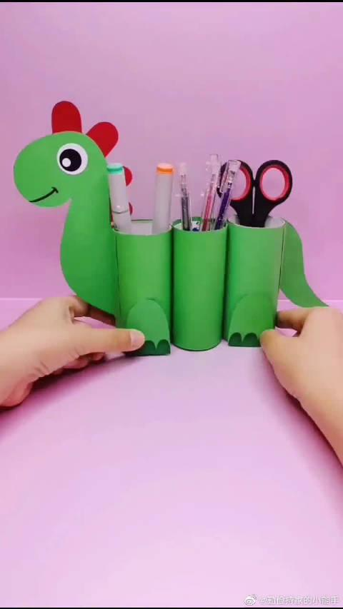 手工制作:这么可爱的恐龙笔筒,要不要试着做一个!