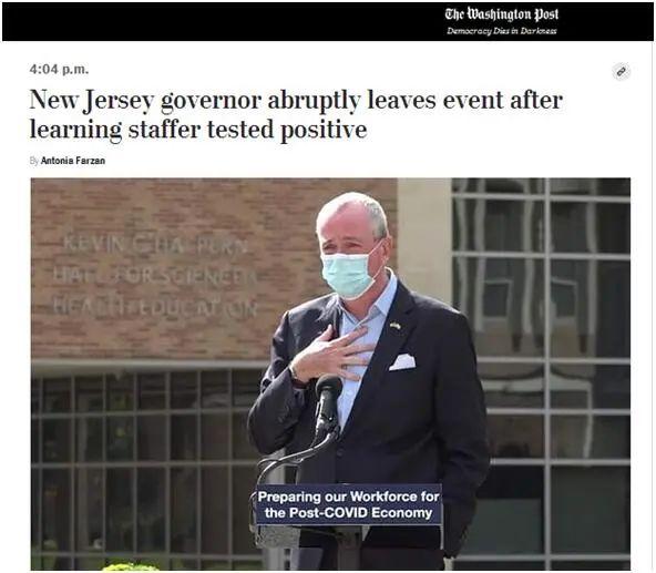 """身边人检出阳性,美国州长""""闪退""""。图片"""