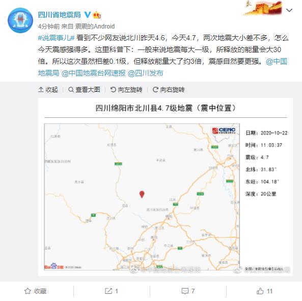 四川地震局:今日北川地震释能比昨日大约3倍图片