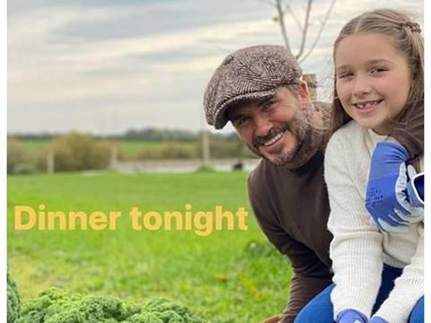 贝克汉姆带女儿到农场,小七白里透红美翻,9岁了仍和爸爸亲嘴唇