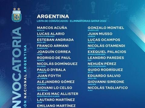 11个月等待!梅西重回国家队,阿根廷队世预赛阵容:迪巴拉入选