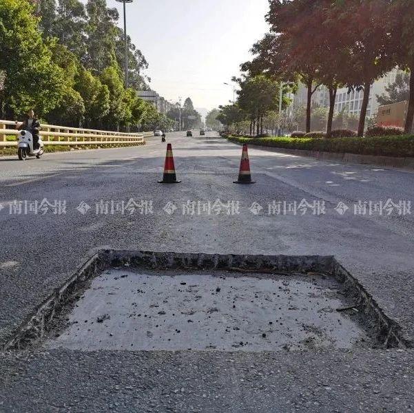 """太坑人!柳州这条路上被人挖个坑,多辆过路车辆""""入坑""""爆胎"""