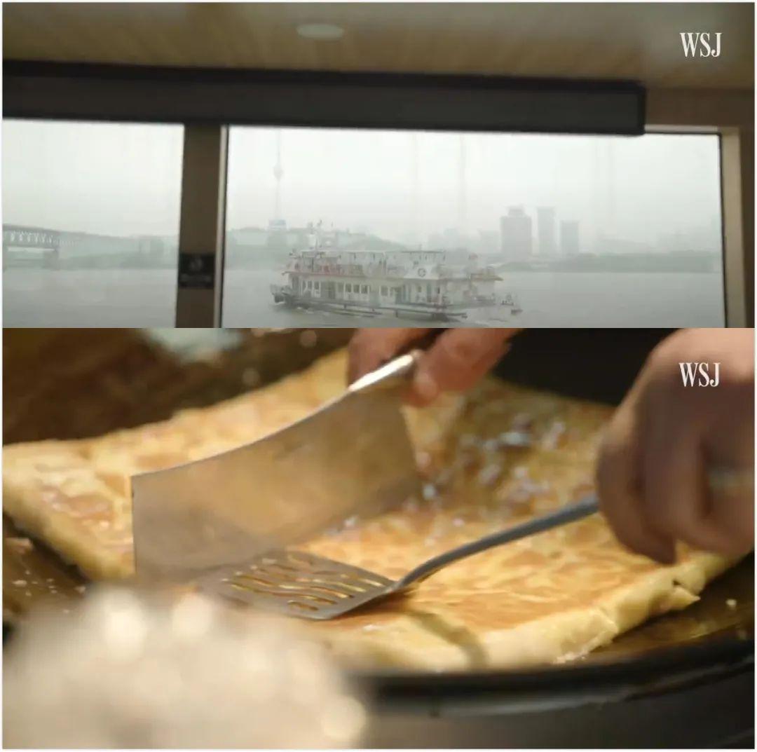 ▲记者搭乘渡轮、品尝武汉小吃豆皮等,《华尔街日报》报道截图。