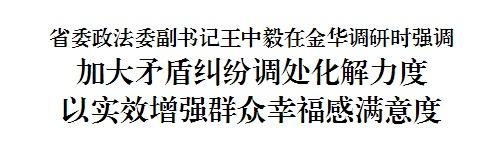 省委政法委副书记王中毅在金华调研时强调 加大矛盾纠纷调处化解力度 以实效增强群众幸福感满意度
