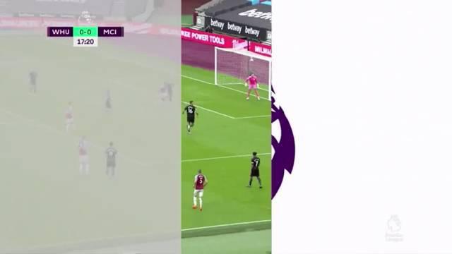 上半场结束,凭借安东尼奥的精彩倒钩破门,西汉姆联1-0领先曼城