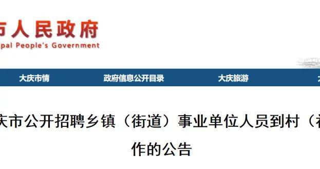 共93人!大庆市公开招聘乡镇(街道)事业单位人员到村(社区)任职