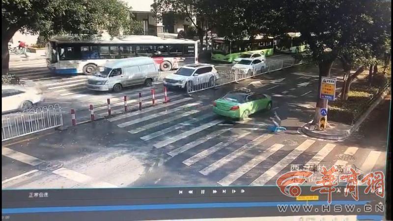 西安出租车东大街斑马线上撞人后逃逸 监控拍下整个过程