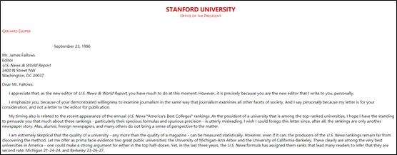 格哈德·卡斯珀的公然信现在仍收录于斯坦福大学官网