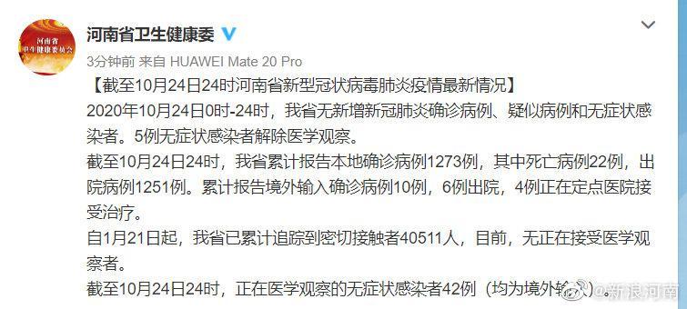 截至10月24日24时河南省新型冠状病毒肺炎疫情最新情况