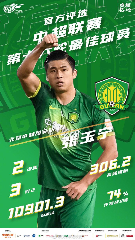 张玉宁当选中超第16轮最佳球员,进俩球、跑动一万多米图片