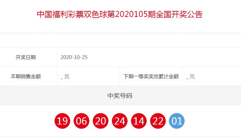中国福利彩票双色球全国开奖公告(第2020105期)