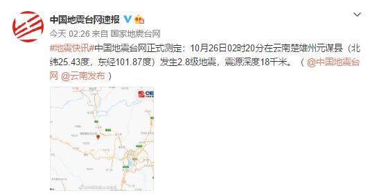 今日凌晨2时20分 楚雄州元谋县发生2.8级地震
