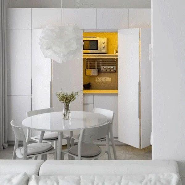 极简白 LOFT,隐藏式厨房让房间大一倍!