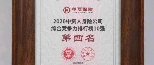 【资讯】2020中国保险企业竞争力排行榜公布,华夏人寿位居第四