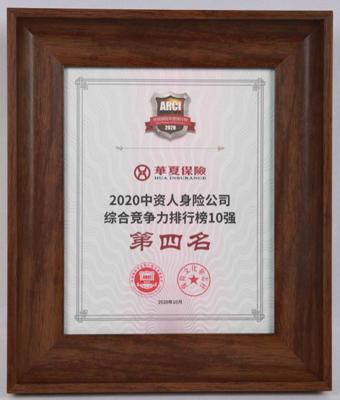 2020中国保险企业竞争力排行榜公布 华夏人寿位居第四