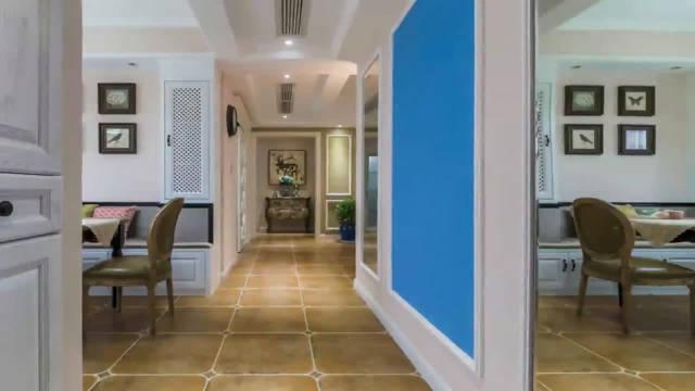 125平米美式风格装修的三居室,多种颜色搭配设计,感觉时尚美观