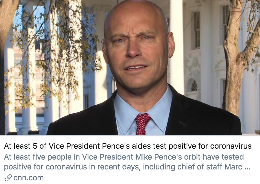 彭斯身边至少5人确诊,新冠病毒笼罩下的白宫还好吗?