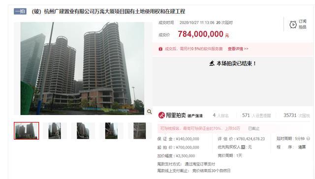 杭州烂尾楼7.84亿成交!老板曾因非法吸收公众存款罪获刑7年