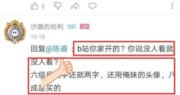 B站用户斥责陈睿:B站你家开的?六级号八成是买的