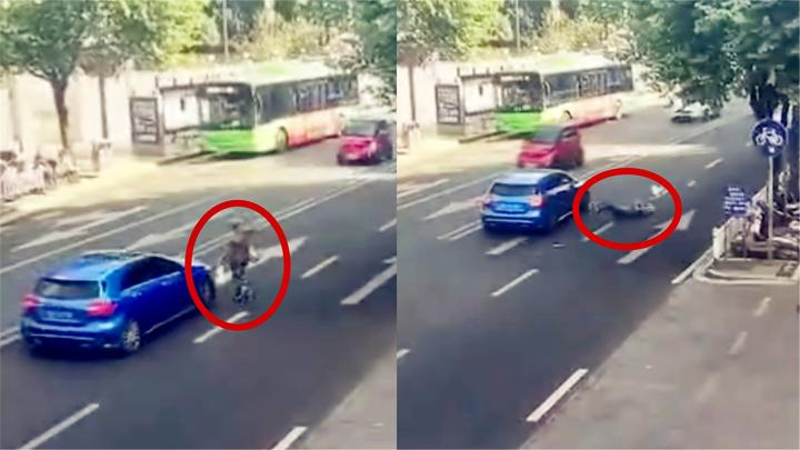 监拍:老人为赶公交车选择横穿马路 被奔驰撞飞头部着地致昏迷!