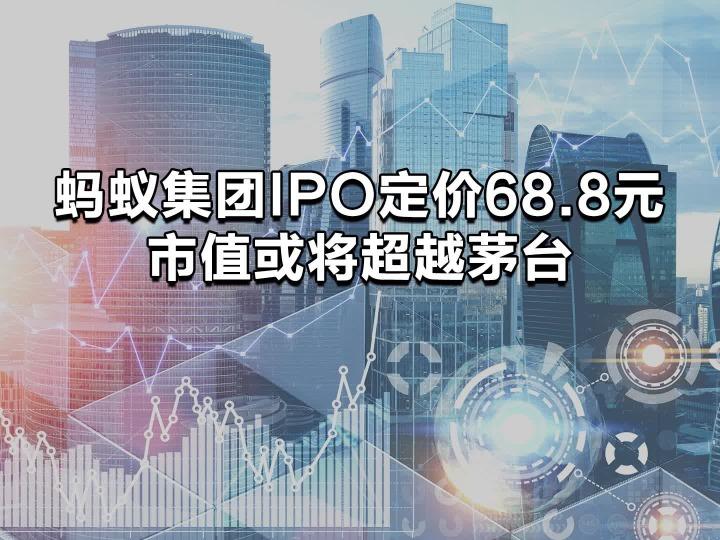 蚂蚁集团IPO定价68.8元 市值或将超越茅台