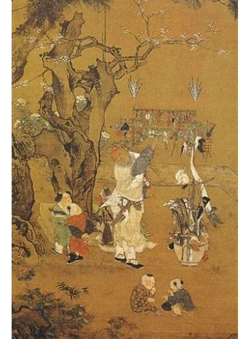 """活泼在自觉买卖市场上的""""货郎"""",自宋之后是各家画作的常见元素。图为明代""""浙派""""画家吕文英所绘的《货郎图》之冬篇。"""