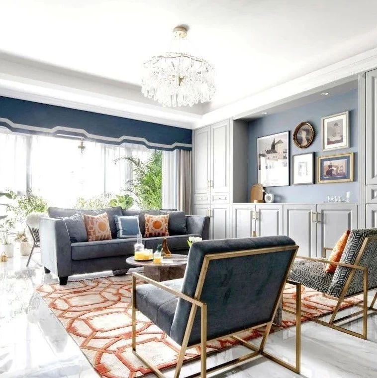 卡座小餐厅,不要电视墙,120平灰蓝色系时尚简美三室