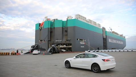 """装船出海!""""中国制造""""特斯拉轿车正式出口欧洲"""