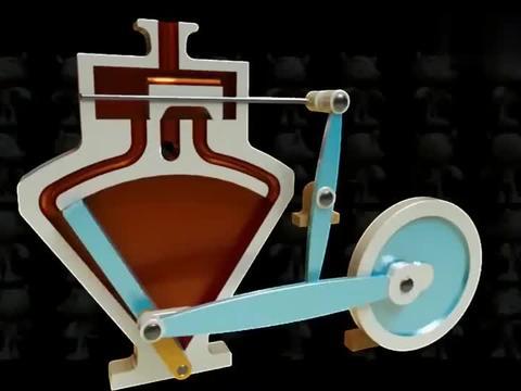 3D动画演示摆动活塞发动机原理,很清晰直观,你看懂了吗?