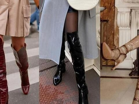 有品位的女人别总穿马丁靴,今年流行的是漆皮靴,时髦复古还百搭