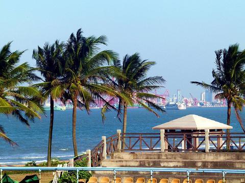 探访海口假日海滩,海水椰树相映成趣,还可自助烧烤
