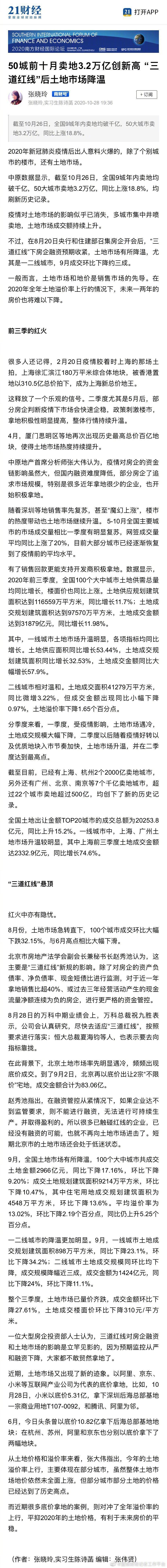 """50城前十月卖地3.2万亿创新高 """"三道红线""""后土地市场降温"""