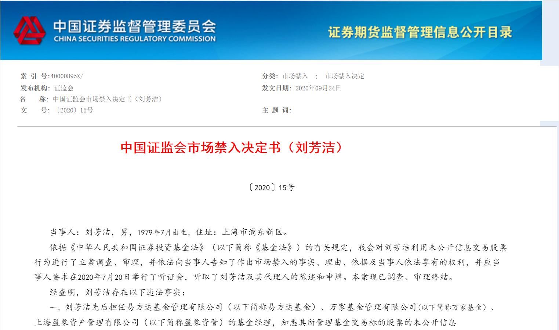 13年的老鼠仓、非法盈利超千万!原易方达、万家、盈象资管基金经理刘芳洁被证监会判决终身市场禁入
