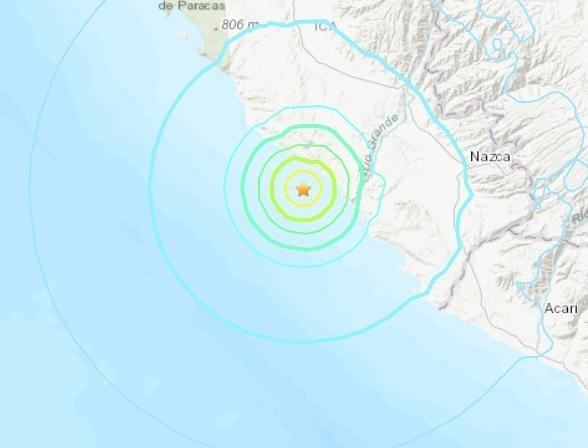 秘鲁西南附近海域发生5.6级地震 震源深度10千米