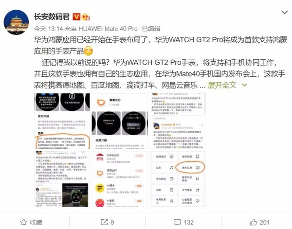 曝华为Watch GT2 Pro支持和手机协调工作 首批支持高德地图、抖音等