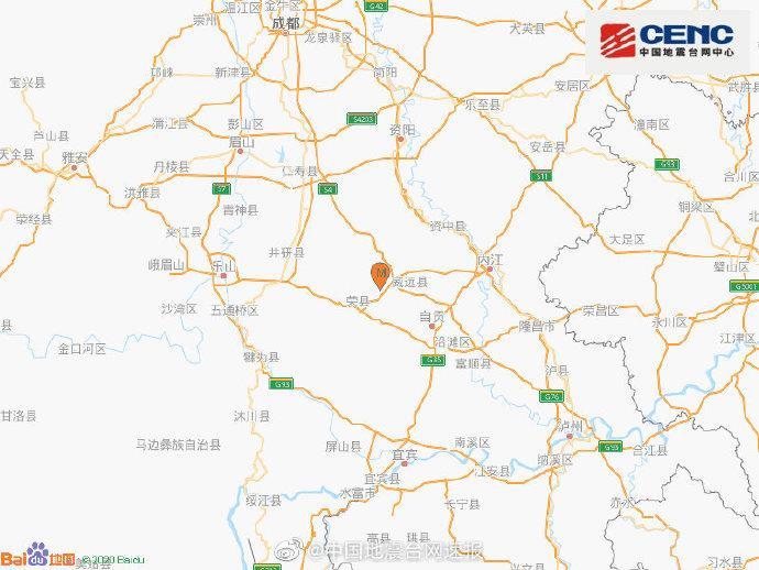 四川内江市威远县发生3.6级地震,震源深度12千米