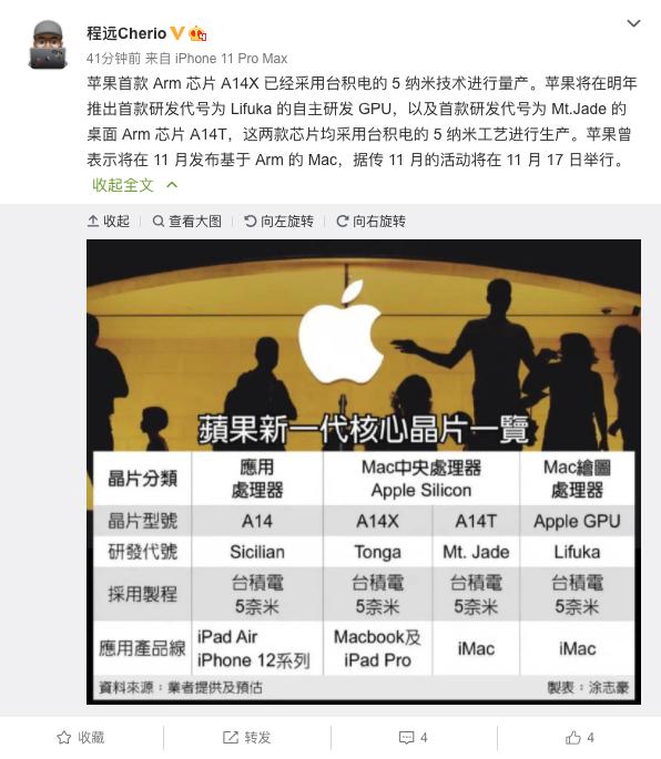 爆料称苹果首款ARM芯片已采用台积电5nm工艺进行量产