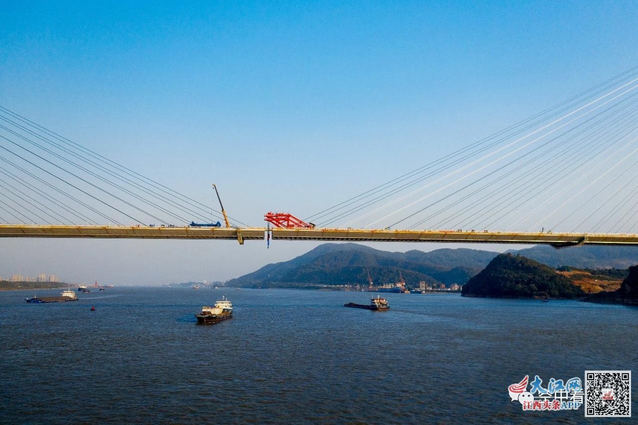 武穴长江公路大桥合龙! 江西瑞昌与湖北两地迈入同城时代