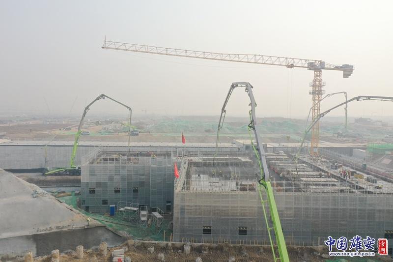 雄安新区河西110千伏变电站工程主体结构负二层混凝土浇筑工作顺利完成